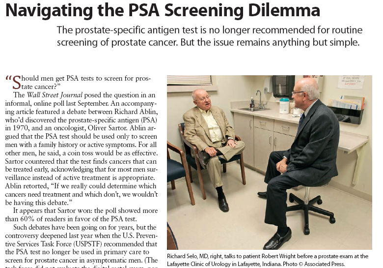 """Our January article on """"Navigating the PSA Screening Dilemma"""" includes a discussion of 'shared decision making'"""