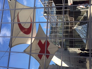 Red Cross and Red Crescent Symbols Outside ICRC Museum, Geneva